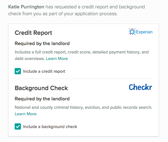 Screening report section, showing required credit report and background checks