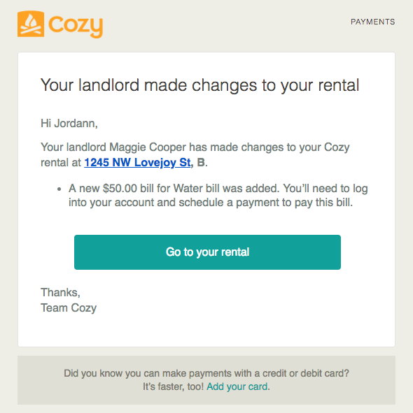 Email sent to renters when lease dates or recurring payment amount is changed