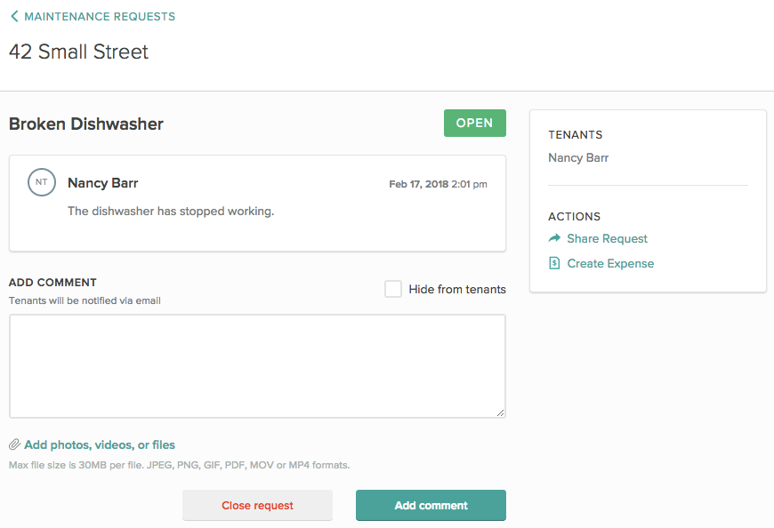 Create a Maintenance request in Cozy to send your renter a message, share a file, and track requests