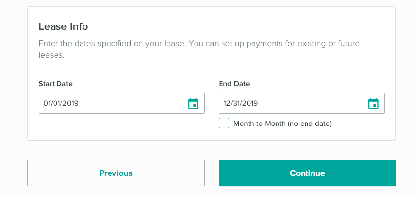 Lease info section of Cozy. Enter your rent collection start and end dates.