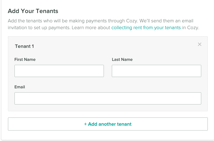 Add your tenants first name, last name, and email address.