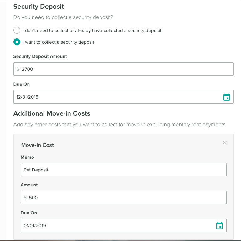 Security deposit and move in fee setup. Set the amount and when each is due.