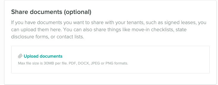 Share document setup. Upload a file of your choice, like the lease or phone numbers
