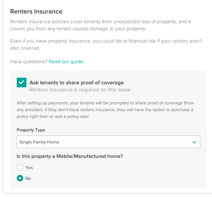 Renters insurance setup. Request your tenants to share proof of renters insurance.