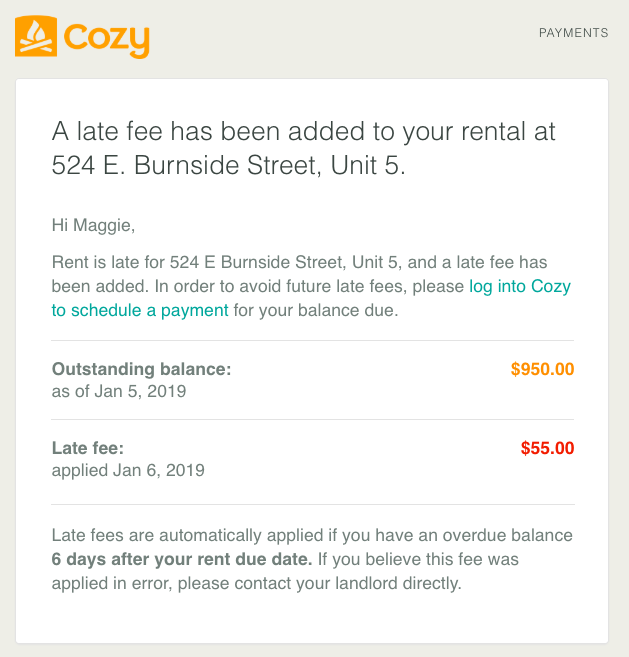 Late fee notification email to renters, with fee and total balanced shown