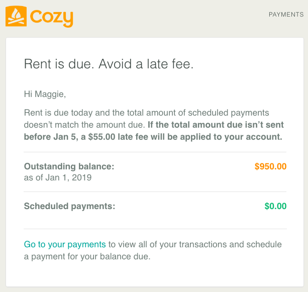 Reminder email to pay rent to avoid a late fee