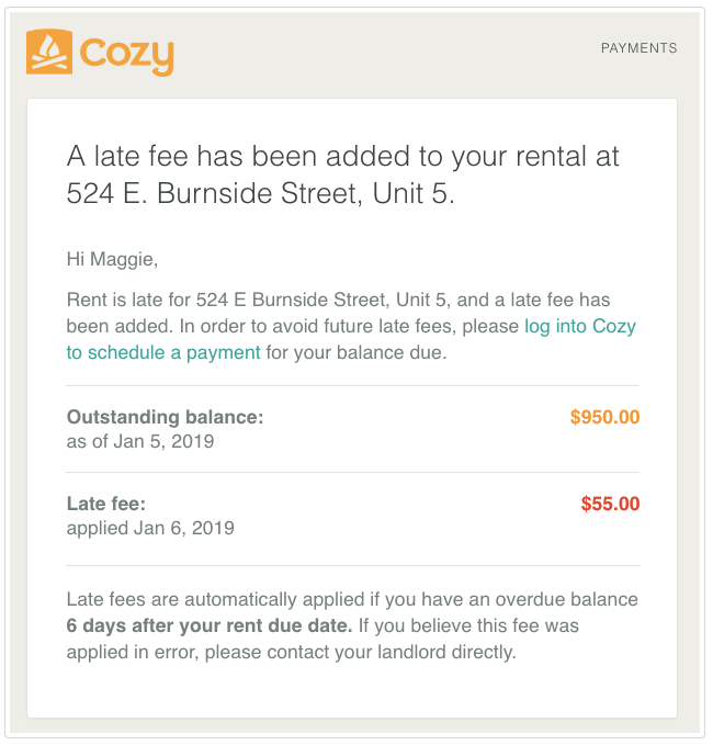 Why did I get a late fee? - Cozy Help Center