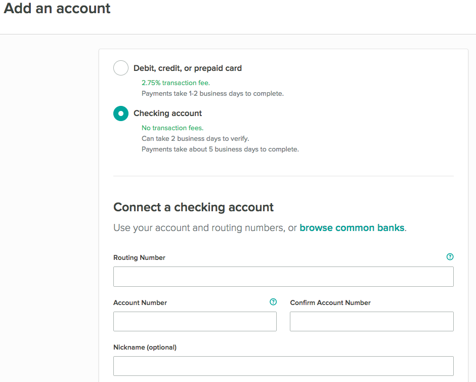 Manually adding a checking account on Cozy on the Add an account page