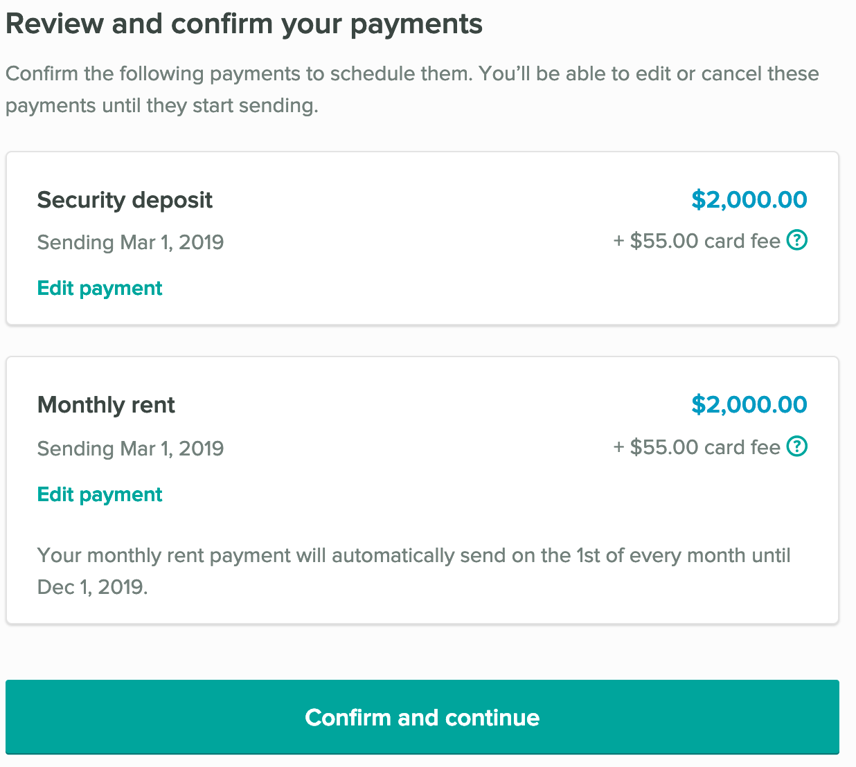 Confirmation of scheduled payments