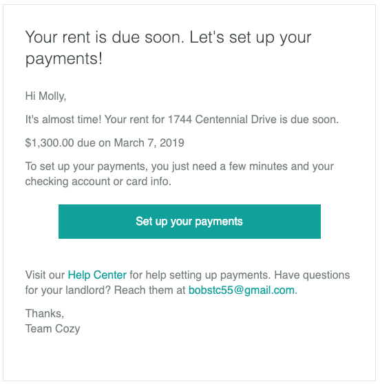 What payment emails does Cozy send to my tenant? - Cozy Help