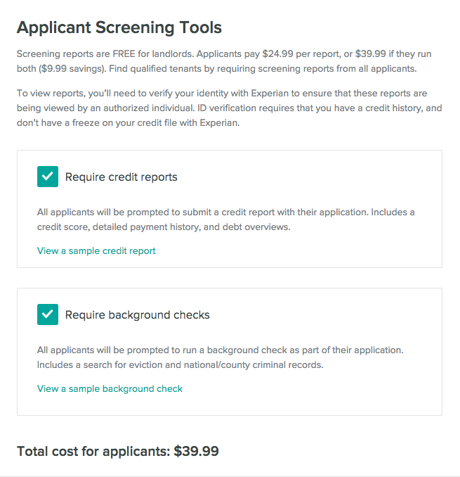 Require screening reports from renters when they apply