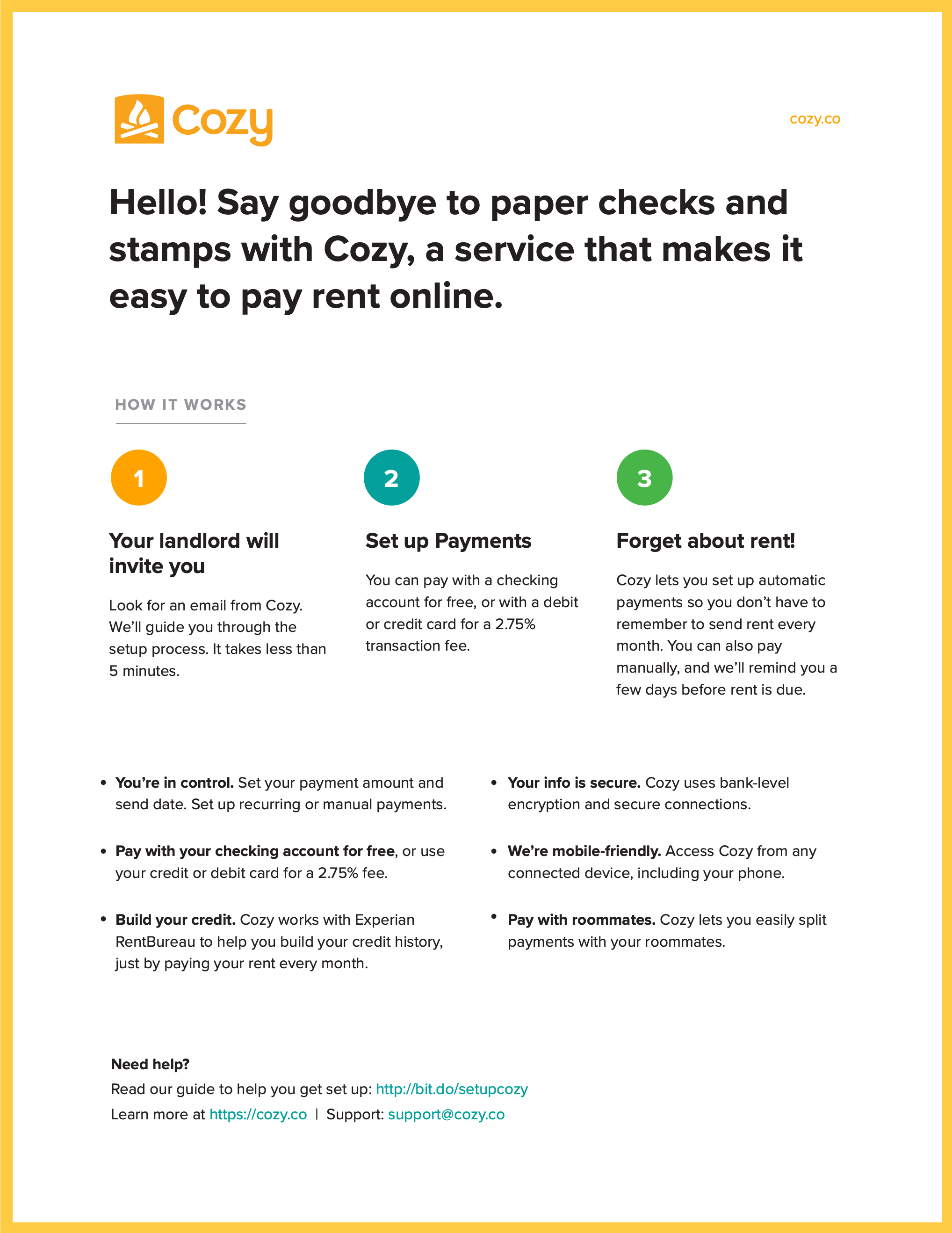 Cozy renter handout to help introduce renters to Cozy payments