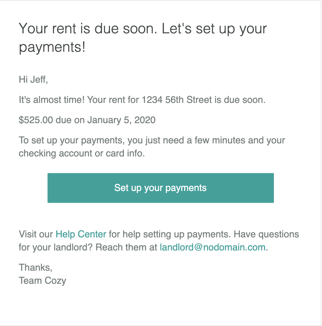 email reminder to set up payments for renters
