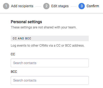 Add unique cc or bcc recipients for each recipient in your Sequence