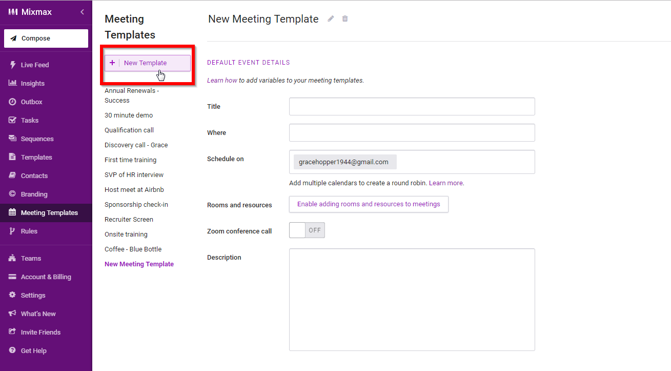 meeting templates overview mixmax help center