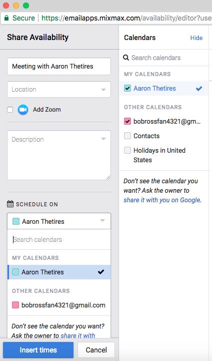 Schedule On Shared Calendars Mixmax Help Center