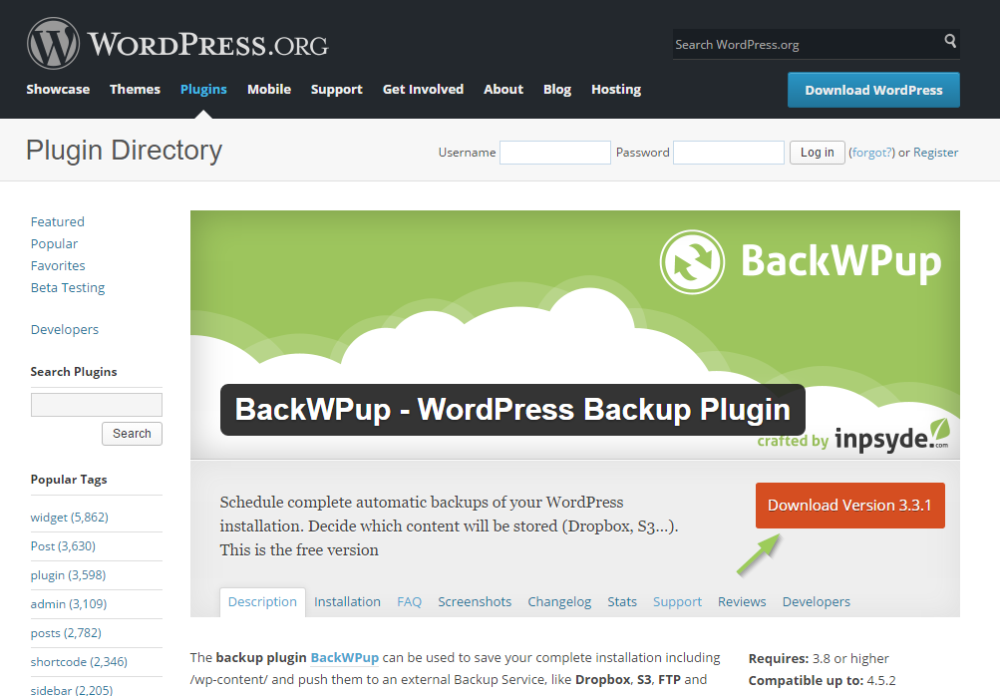 Install BackWPup Free - Download from wordpress.org