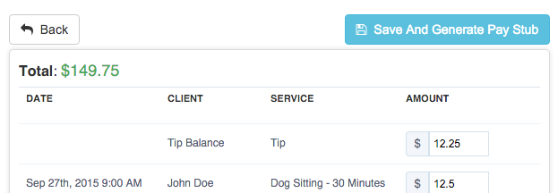 Tipping in Time To Pet - Staff paystub will show tip amount