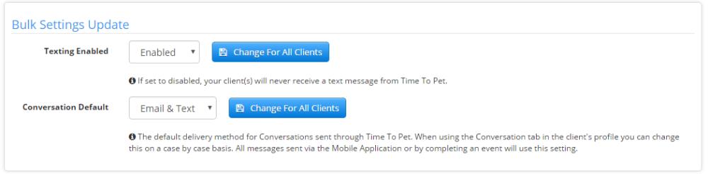 Bulk update Text Message Settings Screen