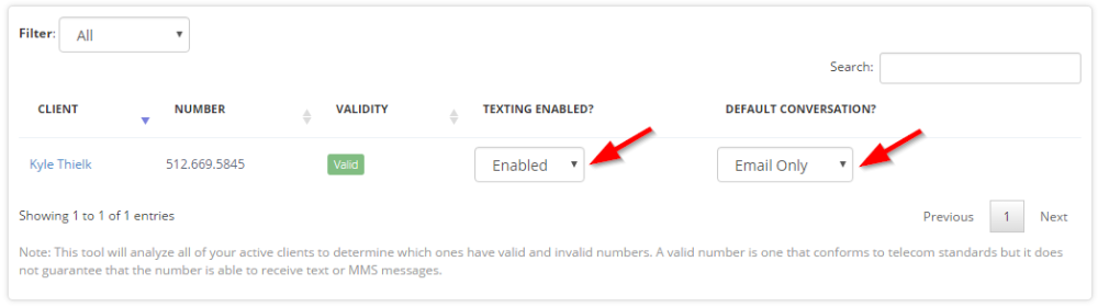 Enable or disable individual staff or client text messages screen