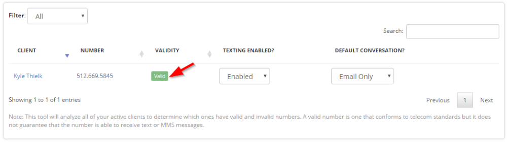 """View if staff or client number is valid by viewing """"Valid"""" tag"""