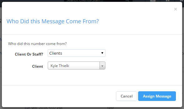 View of screen for assigning un-assigned text messages