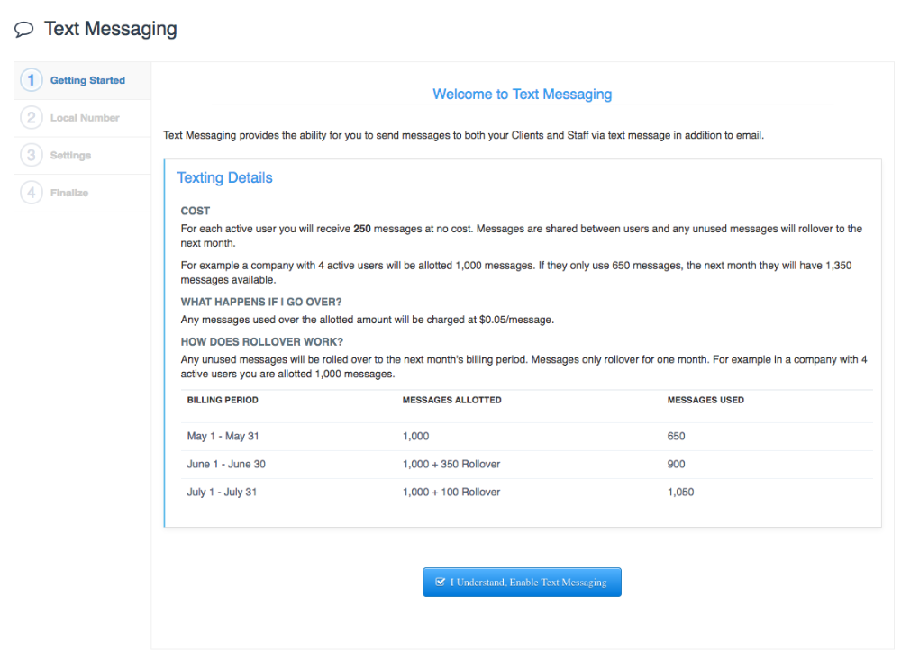 View of Text Message Settings Getting Started screen
