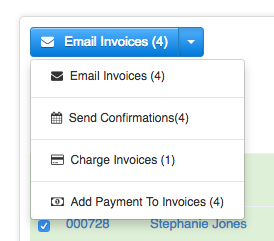 Email Invoices dropdown menu with four options for bulk actions