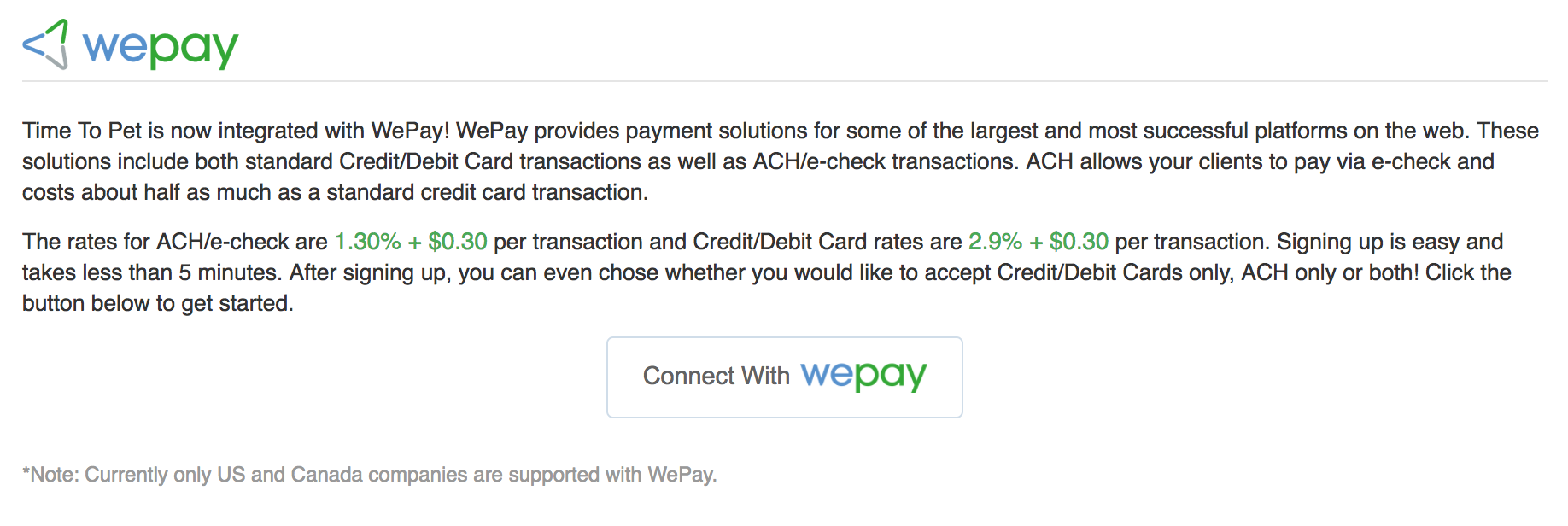 WePay - Connect with wepay