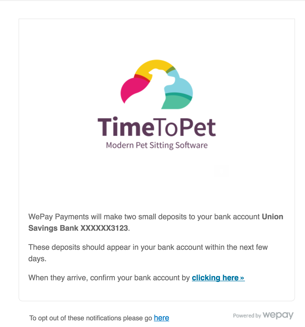 View of Micro deposit confirmation screen inside of Time To Pet