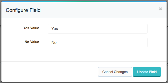 Configuration Options for Yes No