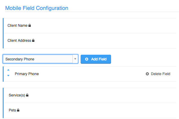 Mobile Field configuration options with dropdown to add additional fields