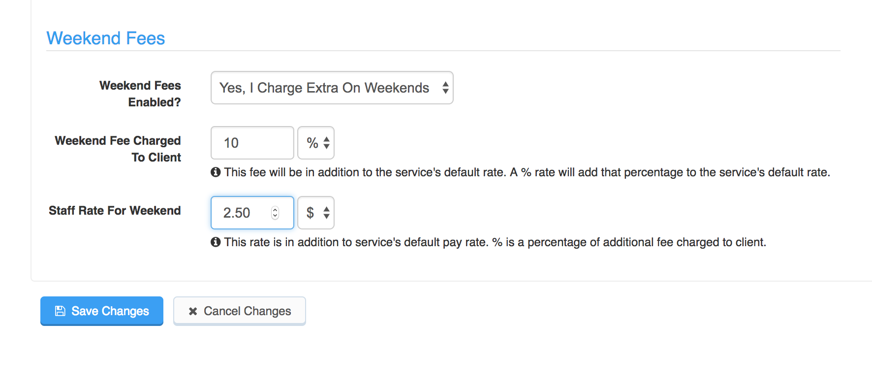Auto Fees tab showing Weekend Fees settings to change additional fees charged to client and paid to staff