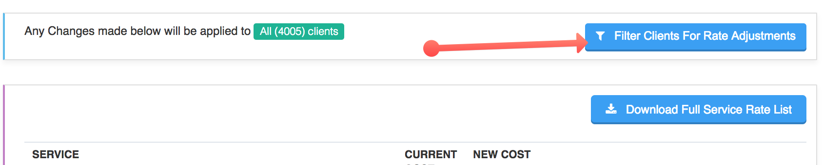 "View of ""Filter Clients For Rate Adjustments"" button"