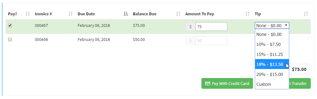 image of selected invoice showing tip dropdown menu options