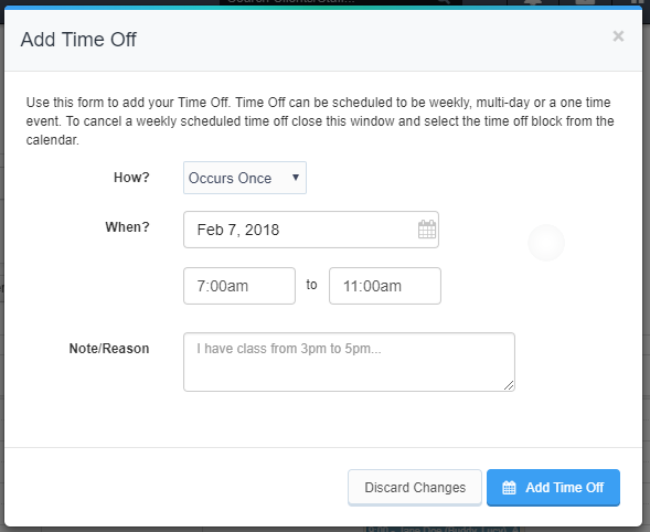 Requesting Time Off - Add Time Off screen