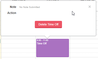 Requesting Time Off - Click request, click Delete Time Off button