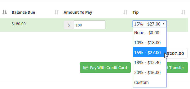 Tipping in Time To Pet - Select amount of tip in the dropdown