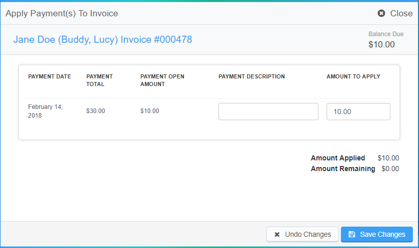 Apply Payments To Invoice pop up window to add or adjust the $10 open payment and save changes