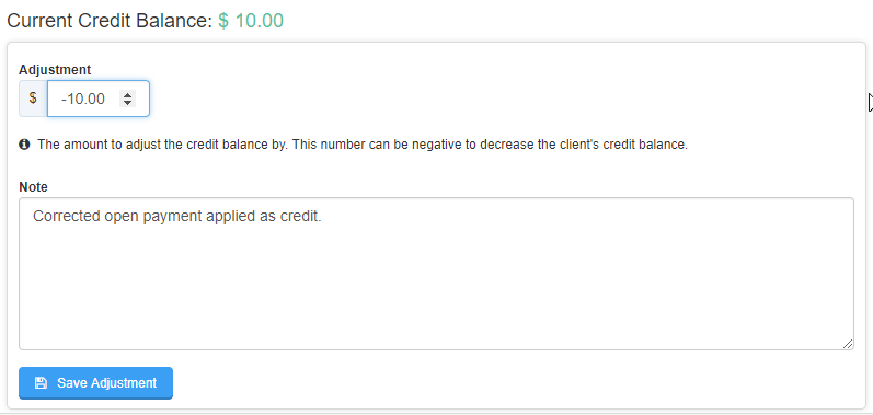 screen to adjust the credit balance and add a note about adjustment