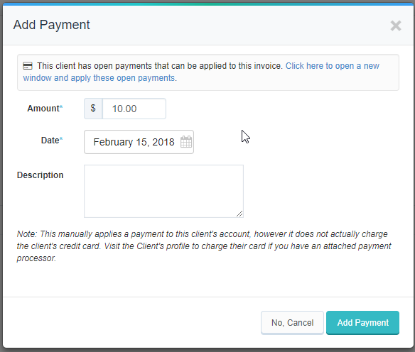 add payment pop up window with option to add open payment to client's invoice