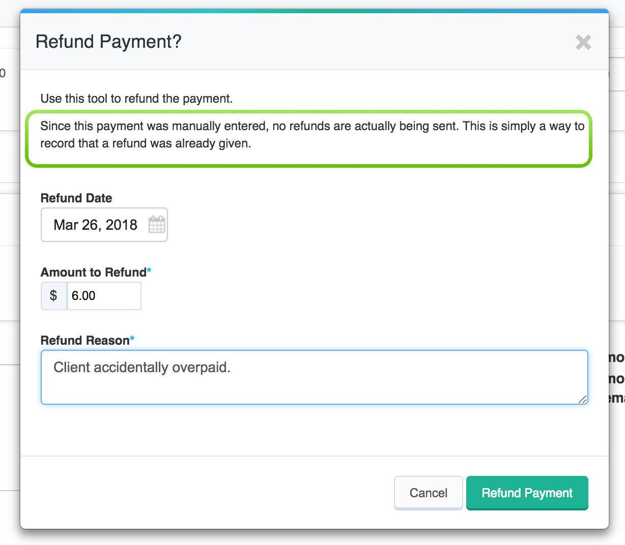 Issue a Refund - Manual Payment Screen