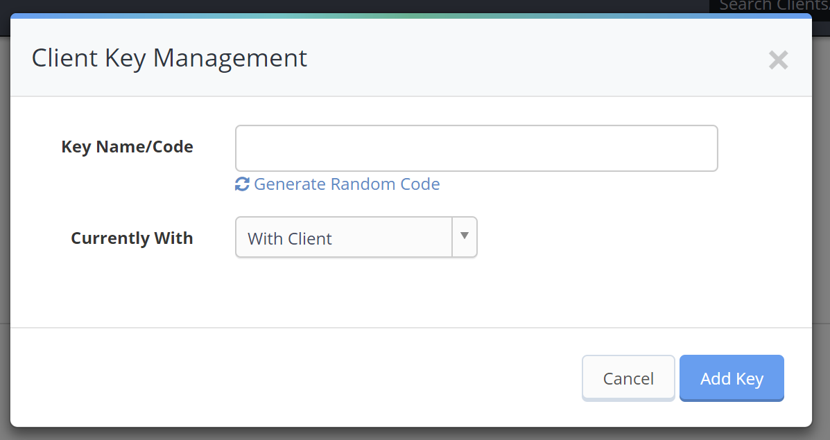 Client Key Management pop up window to add new client key