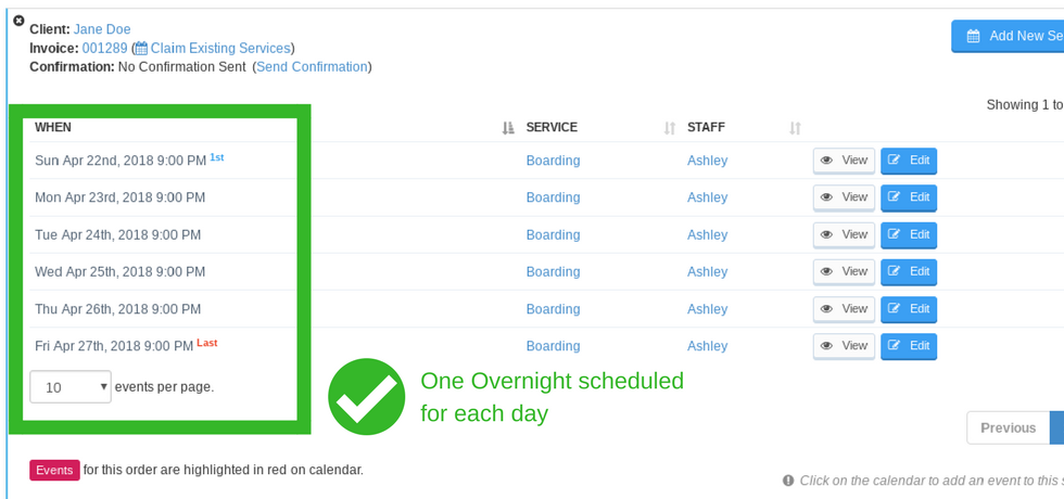 View of correctly scheduled overnights, one per day