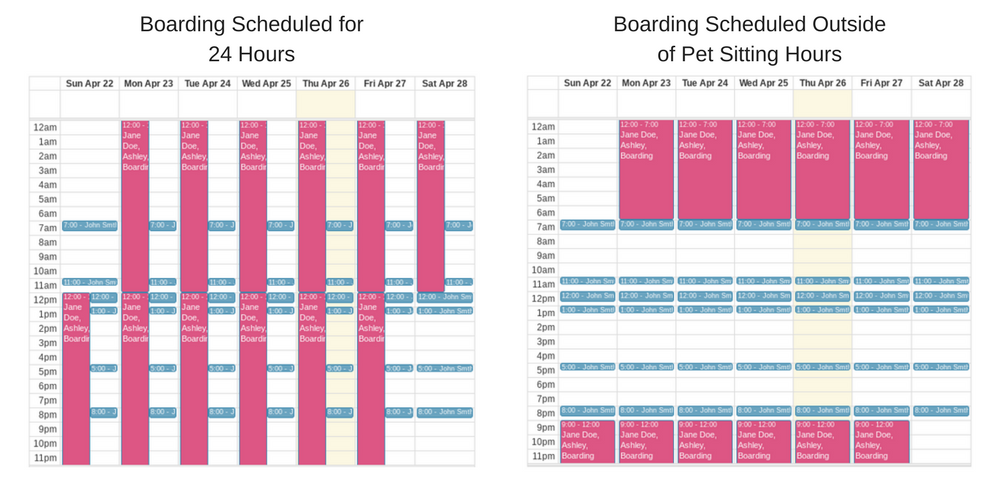 Sample view of boarding scheduled on the Scheduler