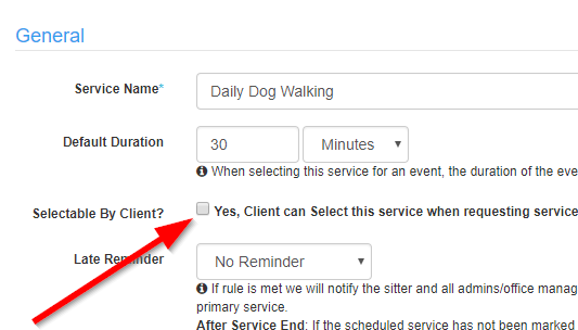 "View of ""Selectable By Client"" option in the Services List"