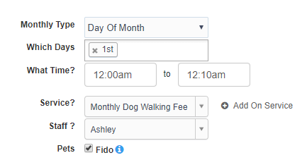 View of Day Of Month, Which Days for Template Settings