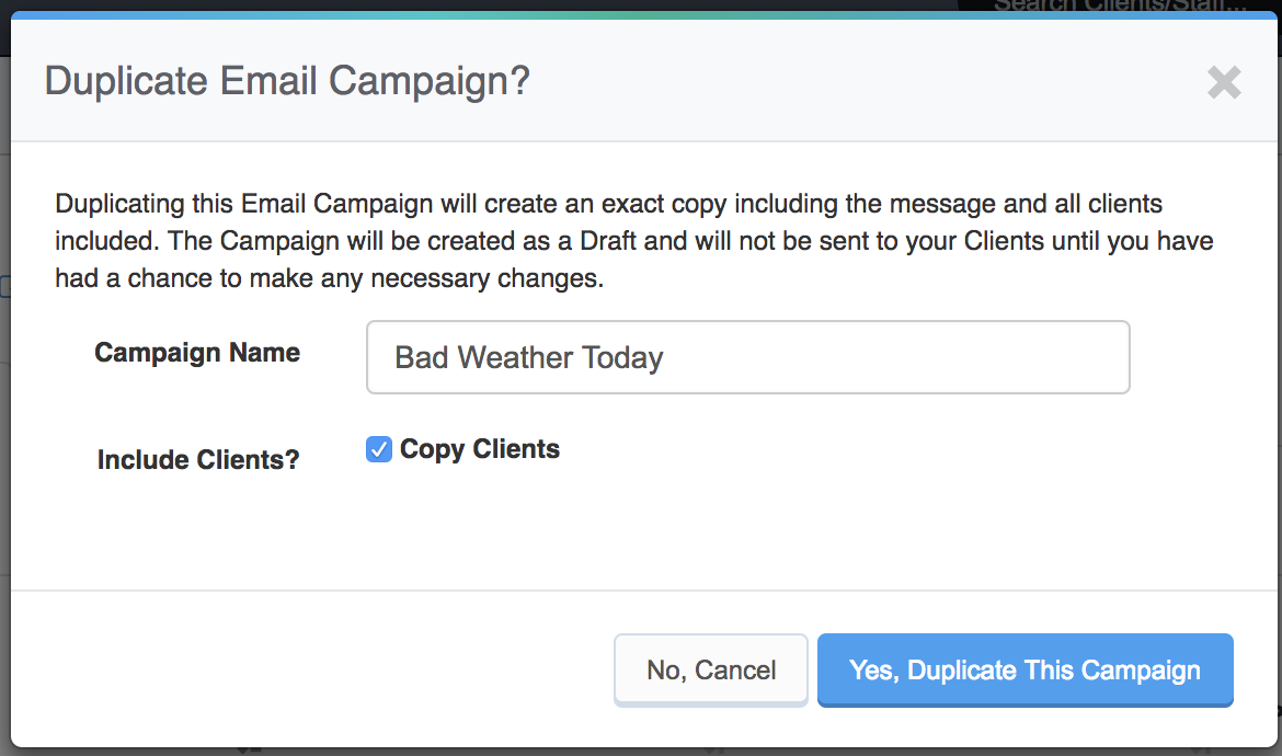Sending Mass Emails To Clients - Edit duplicate campaign name