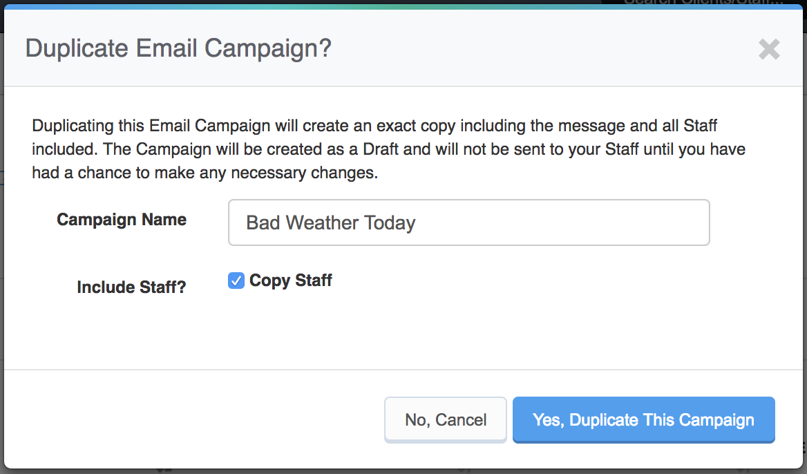 Sending Mass Emails To Staff Members - Edit duplicate campaign name
