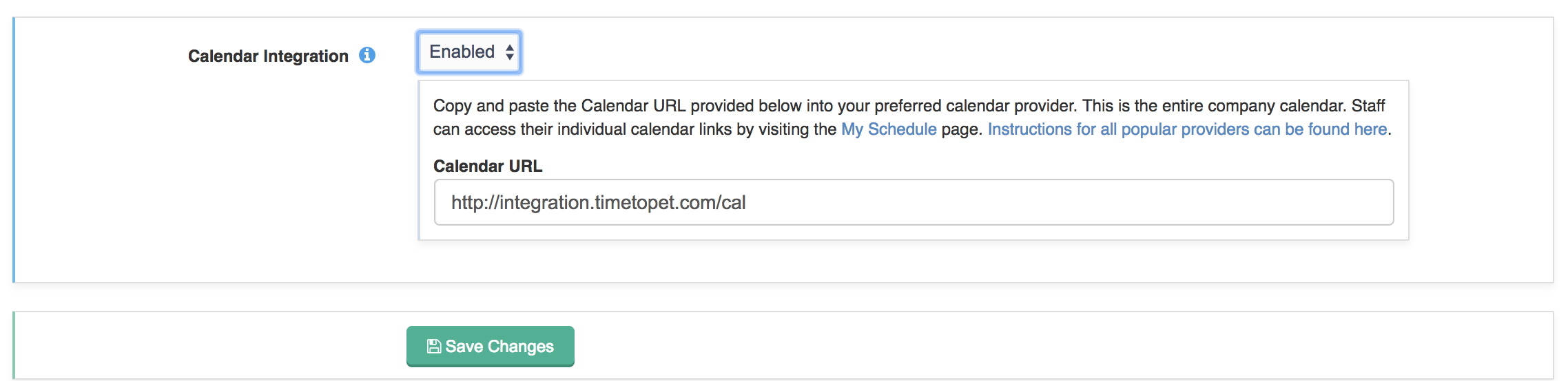 Image showing Calendar Integration enabled with new Company Calendar URL